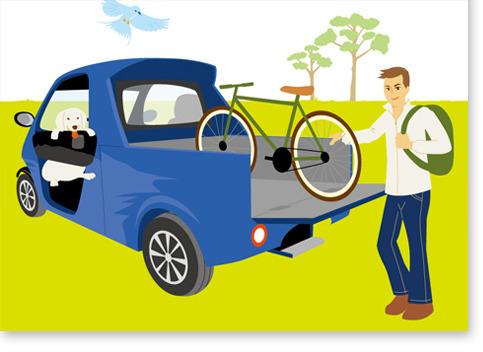 車と男性イラスト