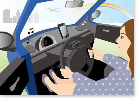 車と女性イラスト