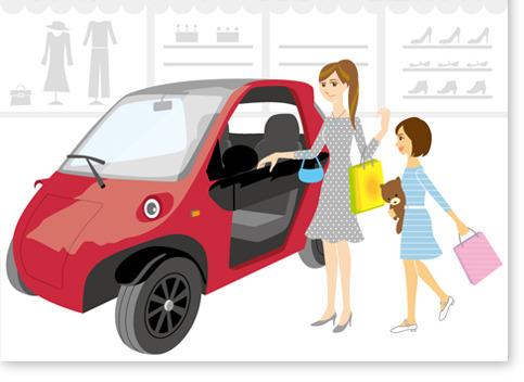 車と親子イラスト